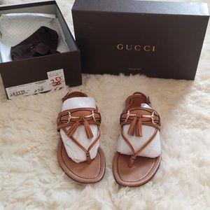 c18432974206 Authentic Gucci horsebit sandals with tassle